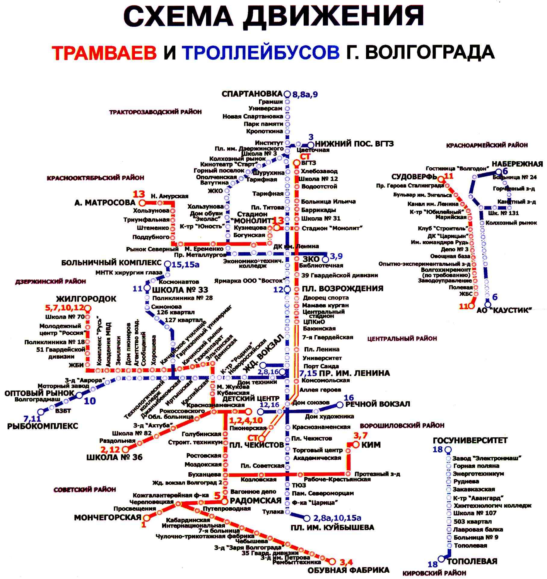 Схемы маршрутов троллейбусов и трамваев.